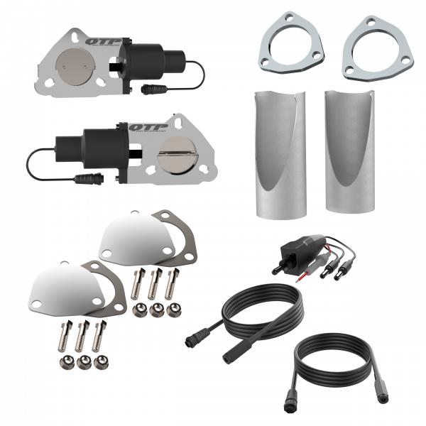 Quick Time Performance - Dual 2.50 Inch QTP Electric Exhaust Cutout DIY Combo Kit