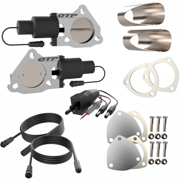 Quick Time Performance - Dual 3.00 Inch QTP Electric Exhaust Cutout DIY Combo Kit